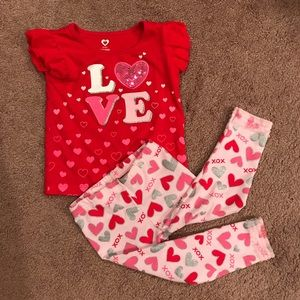 Other - Valentine Heart Girl Toddler 2T Matching Outfit